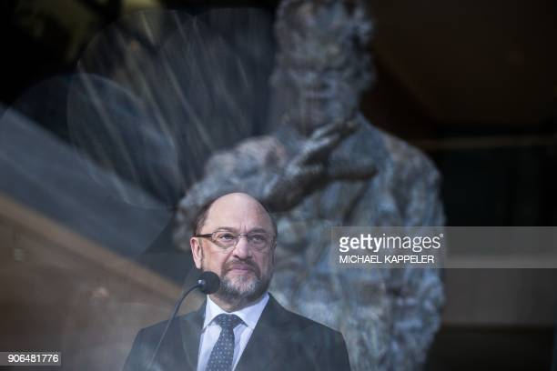 Social Democrats party leader Martin Schulz speaks during a press conference on January 18 2018 at the SPD headquarters in Berlin Germany's divided...