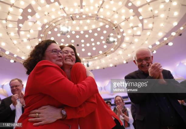 Social Democrats SPD Party Leader Andrea Nahles greets Justice Minister and candidate for the EU Elections Katarina Barley and the Candidate Udo...