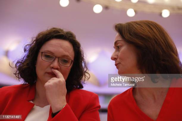 Social Democrats SPD Party Leader Andrea Nahles greets Justice Minister and candidate for the EU Elections Katarina Barley chat at a SPD party...