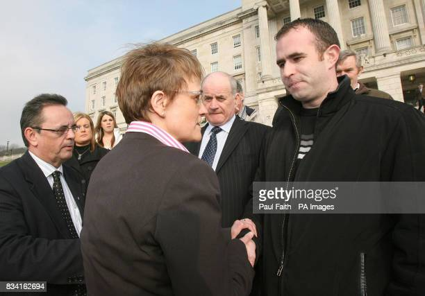 Social Development MinisterMargaret Ritchie with SDLP Assembly member Dominic Bradley welcome the Quinn family to Stormont Belfast ahead of adebate...