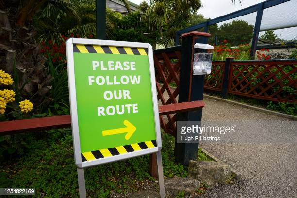 Social distance signage at Paradise Park as it get ready for the reopening of the visitor attraction on July 7 in Hayle Cornwall United Kingdom...