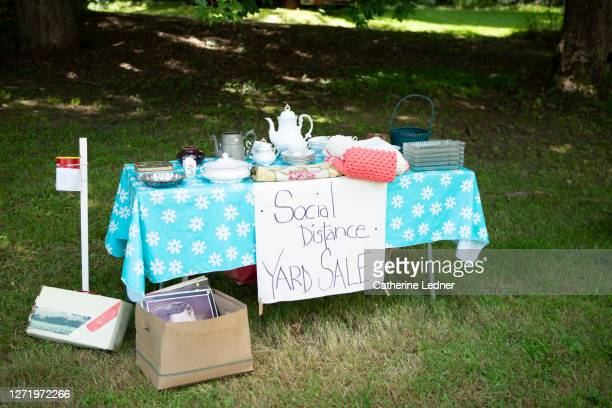 social distance yard sale in maine with no people in attendance - catherine ledner stock pictures, royalty-free photos & images