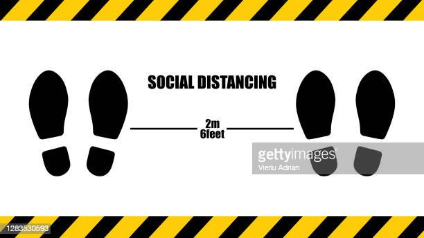 social distancing . 2m 6feet sticker , stop wait here text illustration background covid19 - sign stock pictures, royalty-free photos & images