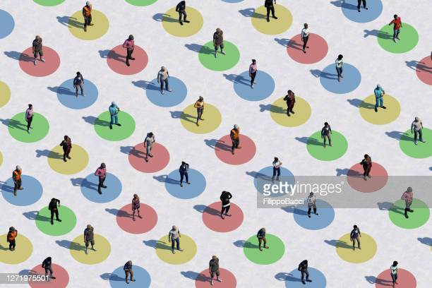social distancing concept with many people - aerial view - people in a row stock pictures, royalty-free photos & images