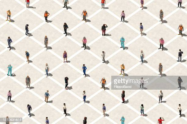 social distancing concept with many people - aerial view - organised group stock pictures, royalty-free photos & images