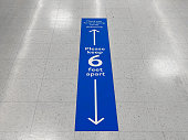 Social distancing floor sign warning about safe distance between people of 6 feet. Public health measure to prevent further spread of new corona virus Covid-19 infections.