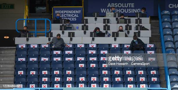 Social distancing in the stands at the The John Smith's Stadium Huddersfield during the Sky Bet Championship match between Huddersfield Town and...