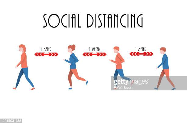 social distancing, keep distance in public society. virus outbreak prevention concept. - covid icons stock pictures, royalty-free photos & images