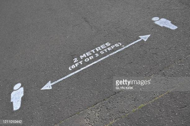 Social distancing markers are seen on the beachfront in Hove on the south coast of England on April 25 during the national lockdown due to the novel...