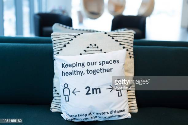 Social distancing measure on cushion in a WeWork co-working office space in the Waterloo district in London, U.K. On Monday, Aug. 2, 2021. A survey...