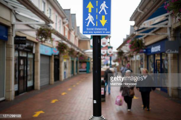 Social distancing measures at Castle Court shopping centre on September 8, 2020 in Caerphilly, Wales. The county borough of Caerphilly in South Wales...