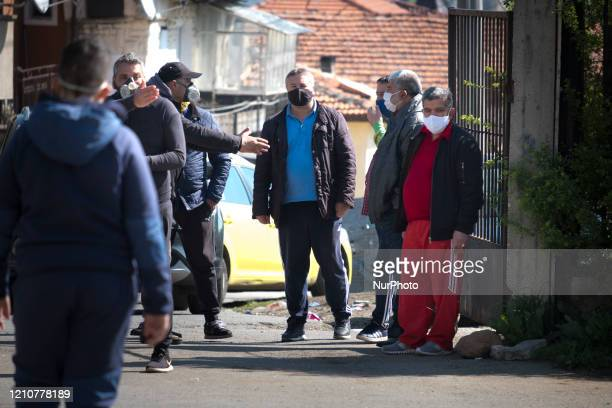 Social distancing measures being enforced in a line to get free testing in Fakulteta a Roma neighborhood of Sofia on April 23 2020 Free antibody and...
