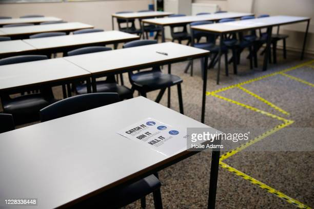 Social distancing measures in a classroom at City of London Academy Highgate Hill on September 4, 2020 in London, England. A limited number of...