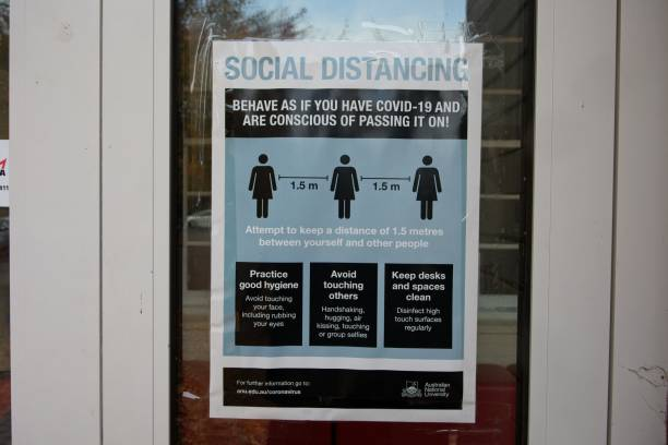 COVID-19 - social distancing measures poster on university campus