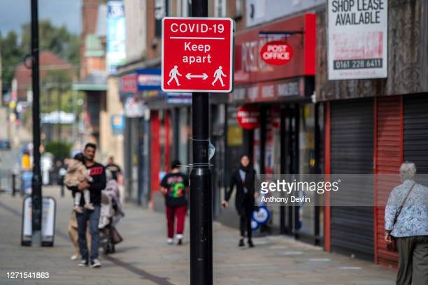 Social distancing sign is displayed in Bolton town centre as Coronavirus restrictions are tightened in the area on September 09, 2020 in Bolton,...