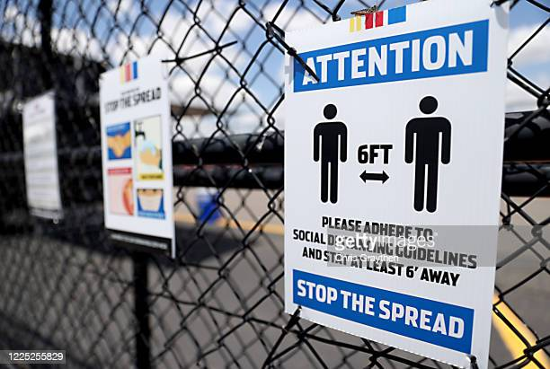 Social distancing signage at the Darlington Raceway as it prepares to re-open tomorrow for the NASCAR Cup Series The Real Heroes 400, the first...
