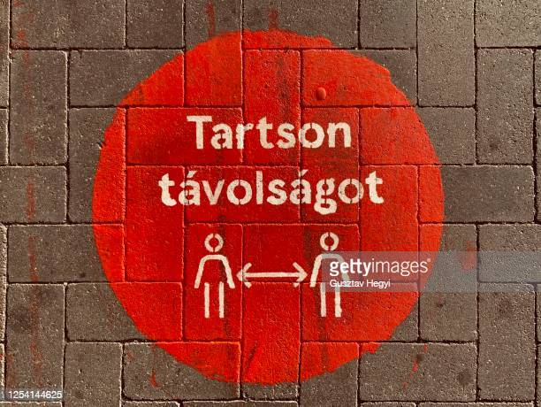 social distancing signage - covid 19 - hungary stock pictures, royalty-free photos & images