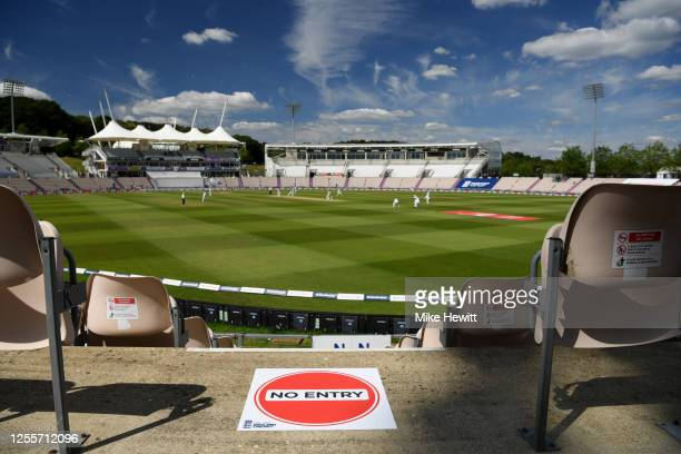 Social distancing signage during day five of the 1st #RaiseTheBat Test match at The Ageas Bowl on July 12, 2020 in Southampton, England.