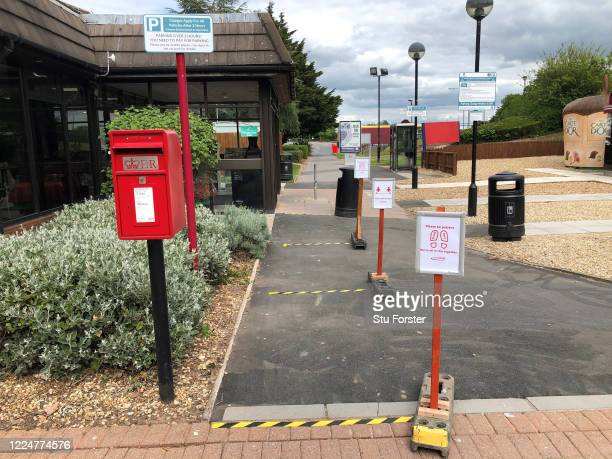 Social Distancing signage is seen at Taunton Deane service station on May 14, 2020 in Taunton, England. The prime minister announced the general...
