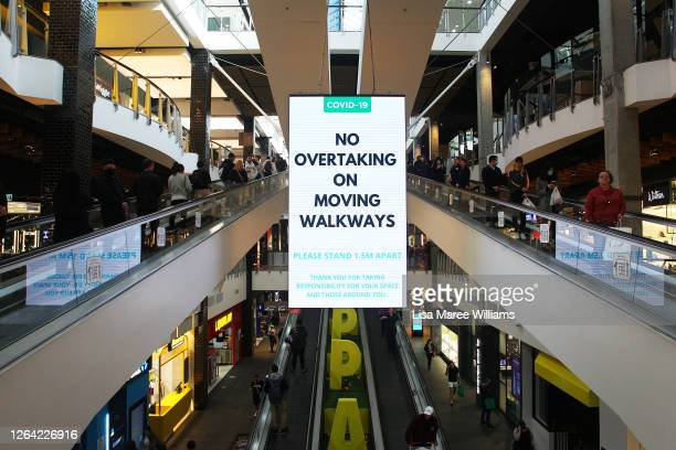 Social distancing signage is seen on display at Broadway Shopping Centre on August 06 2020 in Sydney Australia Mirvac Retail has mandated masks be...