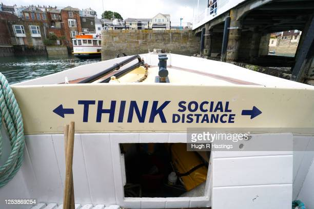 Social distancing signage on board a ferry as Fal River Ferries prepare their vessels for carrying passengers on ferry crossings between Falmouth and...