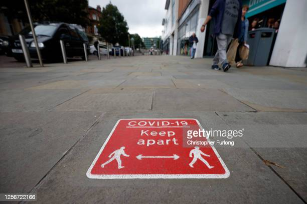 Social distancing signs are seen in Blackburn town centre on July 17 2020 in Blackburn England Blackburn with Darwen Council have imposed local...