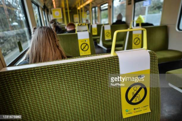 Social distancing signs seen inside DART in Dublin. On Friday, 12 March 2021, in Dublin, Ireland.