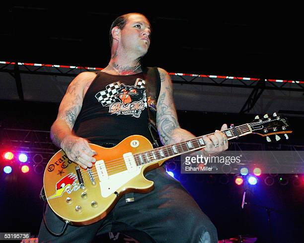 Social Distortion frontman Mike Ness performs during the Red White Boom Independence Day festival at Desert Breeze Park July 4 2005 in Las Vegas...