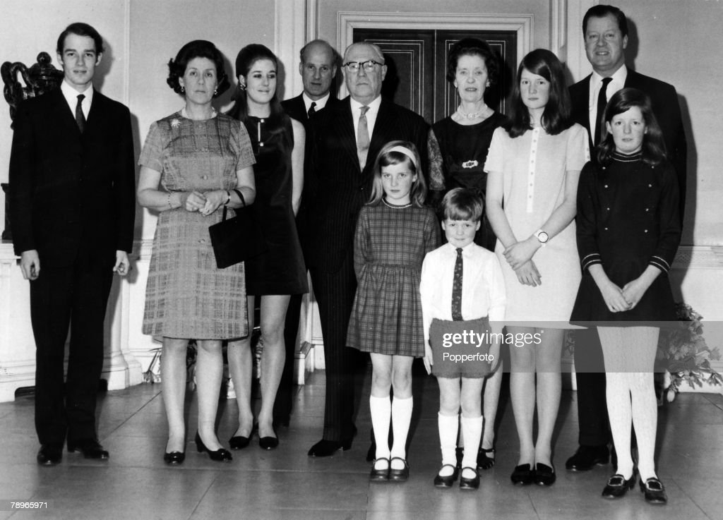 Social History, Aristocracy, Northamptonshire, England, pic: 1969, The Golden Wedding of Earl and Countess Spencer, Pictured left-right, Richard Wake-Walker, Lady Anne Wake-Walker, Miss Elizabeth Wake-Walker, Captain Christopher Wake-Walker, Earl Spencer, Countess Spencer, The Hon, Sarah Spencer, Viscount Althorp, The Hon, Jane Spencer, The Hon, Diana Spencer, and in front Hon, Charles Spencer