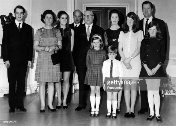 Social History Aristocracy Northamptonshire England pic 1969 The Golden Wedding of Earl and Countess Spencer Pictured leftright Richard WakeWalker...