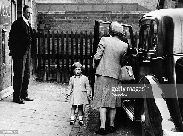 circa 1943 England Northamptonshire Blisworth Prince William of Gloucester pictured with his nanny leaving Blisworth Railway Station