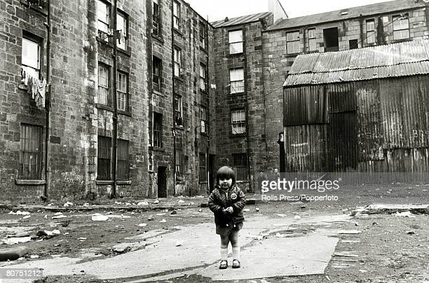 1974 A scene in the Gorbals area of Glasgow Scotland showing the slums some of the worst in Britain