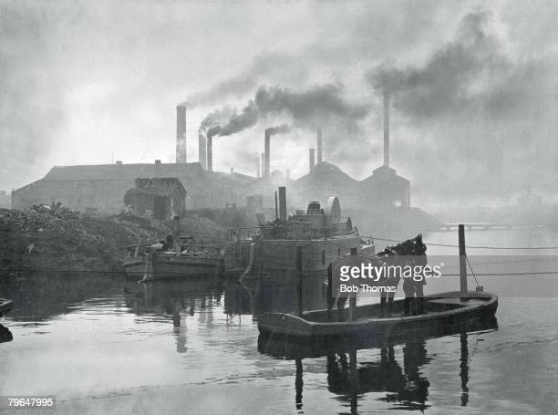 Social History Industry Great Britain pic circa 1900 An industrial scene showing the Coghlan Steel Works Leeds Yorkshire with the chimneys belching...