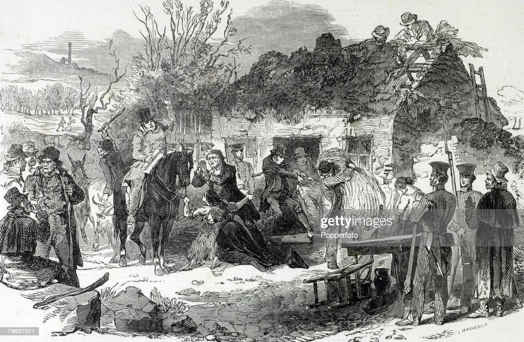 Social History, Ireland,1848, An illustration showing the evictions of peasants during the winter of 1848, A landowner on horseback instructs his helpers to remove the peasants from their house while others destroy the buildings : News Photo