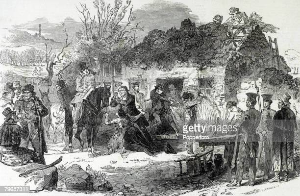 Social History Ireland An illustration showing the evictions of peasants during the winter of 1848 A landowner on horseback instructs his helpers to...