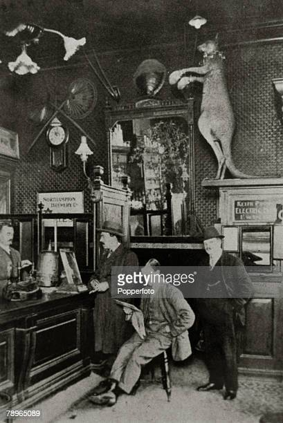 circa 1920's Northampton Northamptonshire England The bar of the Brewers Inn Abington Street Northampton showing a stuffed boxing kangaroo