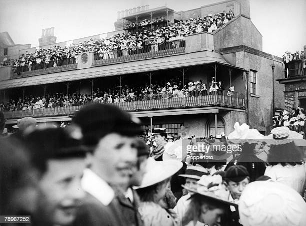 Social History Royalty Northampton Northamptonshire England pic 1897 Large crowds gathering at the Racecourse grandstand to celebrate Queen...