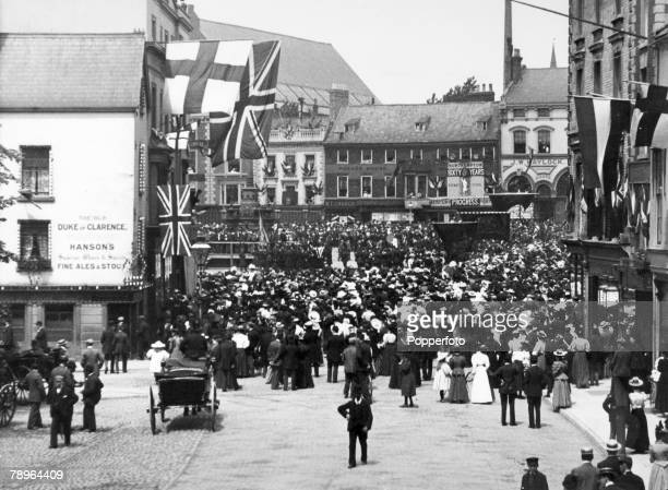 22nd June 1897 Northampton Northamptonshire England This view from Wood Hill to Market Square Northampton shows a large crowd gathered for...