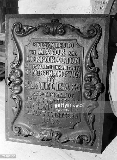 1984 Northampton Northamptonshire England The cast iron plaque off the old Market Square fountain now in the Abington Park Museum probably all that...