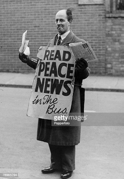 Social History War and Conflict World War Two pic circa 1943 Northampton Northamptonshire England Stanley Seamark a pacifist pictured outside the Bus...
