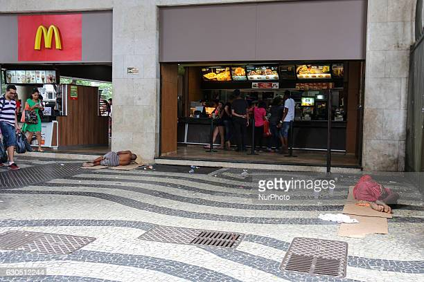 Social inequality has increased more and more in Rio de Janeiro Brazil on December 24 2016 On Christmas Eve a group of homeless people slept in front...