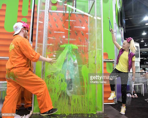 Social influencer and Nickelodeon Star JoJo Siwa attends the Nickelodeon Booth at VidCon 2017 at Anaheim Convention Center on June 24 2017 in Anaheim...