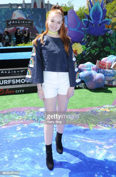 Social influencer Ashleigh Ross attends the premiere of Sony Pictures' 'Smurfs The Lost Village' at ArcLight Cinemas on April 1 2017 in Culver City...