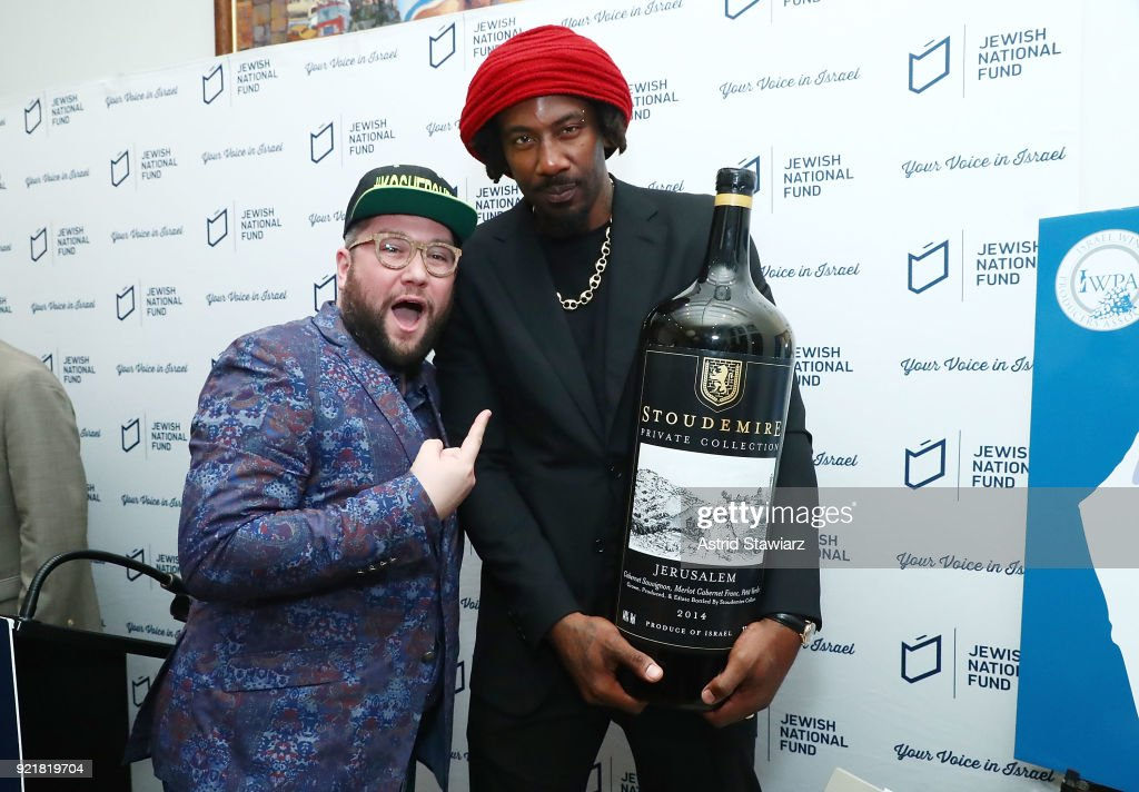 Social influencer 'Kosher Guru' Gabe Boxer poses for photos with Basketball player Amar'e Stoudemire during 'Stoudemire Wines' launch reception with the Jewish National Fund at Ronald S. Lauder JNF House on February 20, 2018 in New York City.