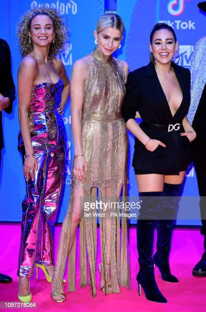 MTV social insiders Rose Bertram Caroline Daur and Danna Paola attending the MTV Europe Music Awards 2018 held at the Bilbao Exhibition Centre Spain
