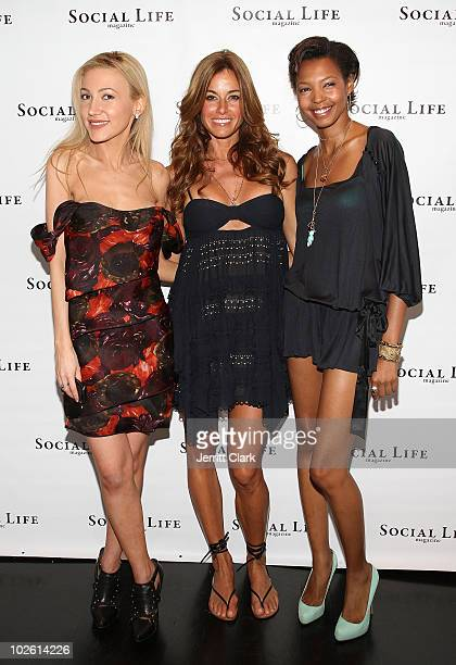 Social Life Magazine Editor Devorah Rose, Kelly Bensimon and DJ Tyger Lilly attend the social life magazine party at The Social Life Estate on July...