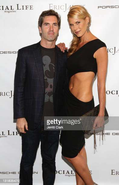 Social Life Magazine Publisher Justin Mitchell and May 2011 covergirl Beth Stern attend the Social Life Magazine May 2011 cover party at The Social...