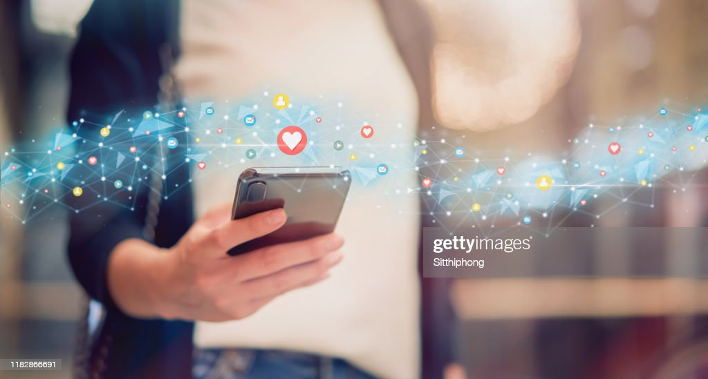 Social media and digital online concept, woman using smartphone and show technology icon. : Stock Photo