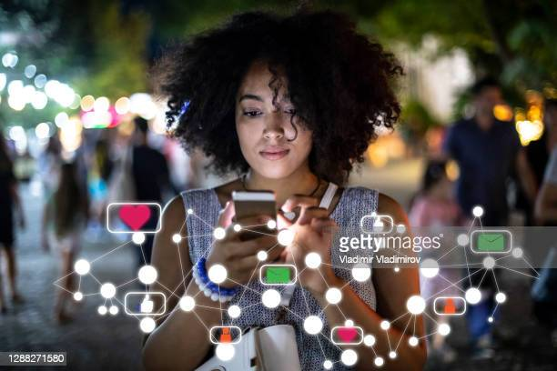 social media and digital online concept, woman using smartphone - facebook stock pictures, royalty-free photos & images