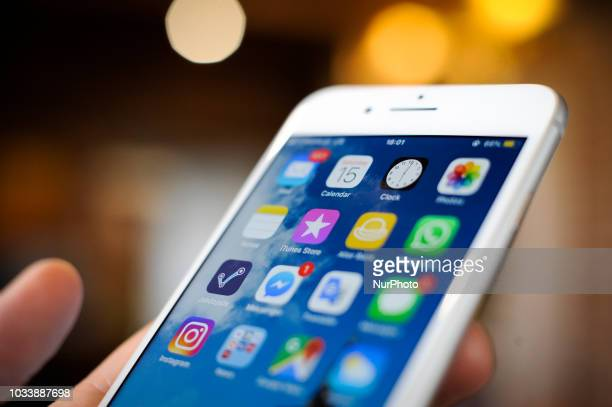 Social media applications are seen on an iPhone 8 plus in this photo illustration on September 15 2018 in Warsaw Poland